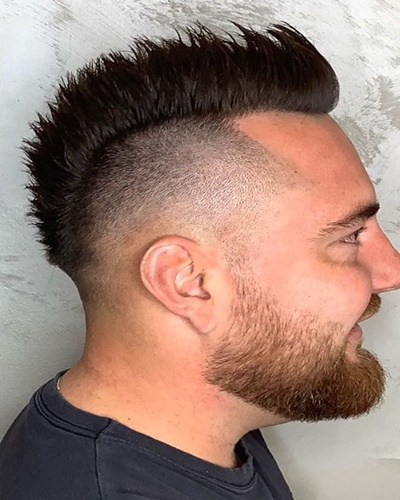 Short Mohawk with Skin Fade Sides and Well-Trimmed Beard