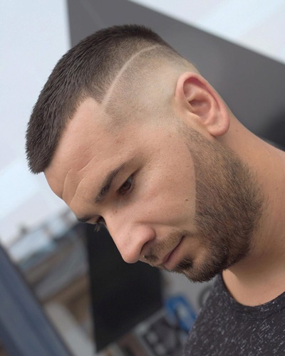 Short Top with Skin Fade and Surgical Line and Faded Trimmed Beard