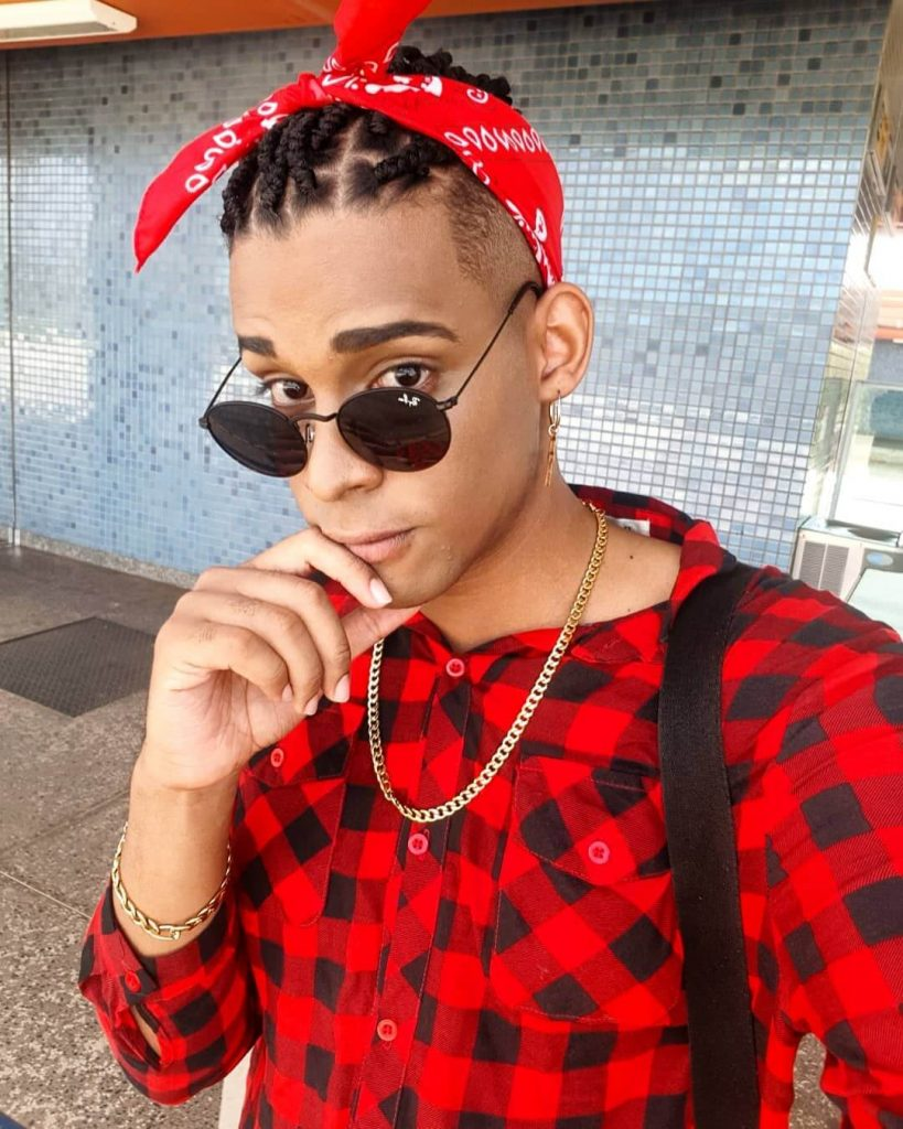 Bandana Top Knot Box Braids Men Undercut Hairstyle