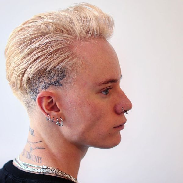 Blonde Layered Short Hairstyle with Undercut