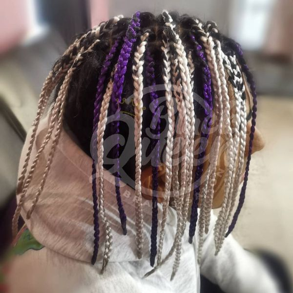 Blonde and Purple Extension Box Braids for Men
