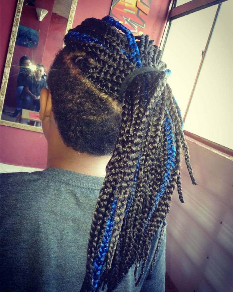 Blue Highlights Long Box Braids Men Hairstyle with Undercut