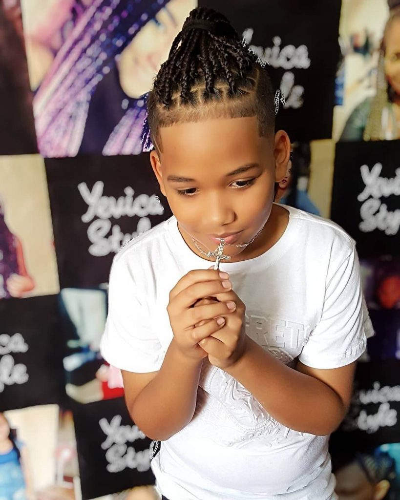Box Braids Men Top Knot and Shape Up Hairstyle