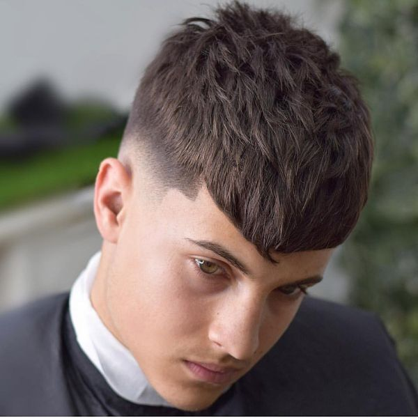 Caesar-style Haircut with V-shaped Bangs