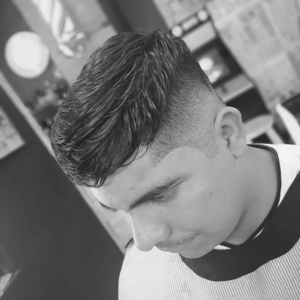 Center-swept Textured Top and Taper Fade Undercut