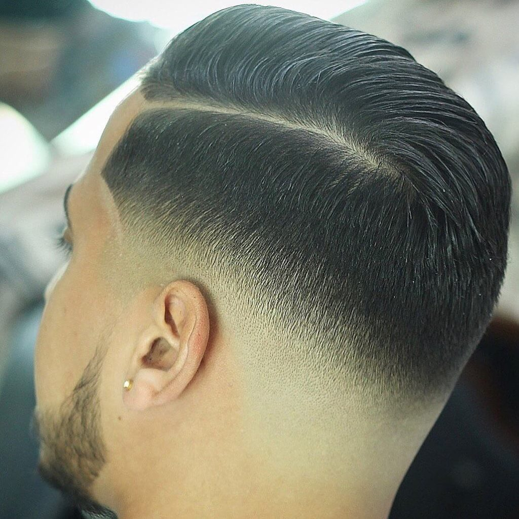 Combover Hard Part Hairstyle with Medium Fade Undercut