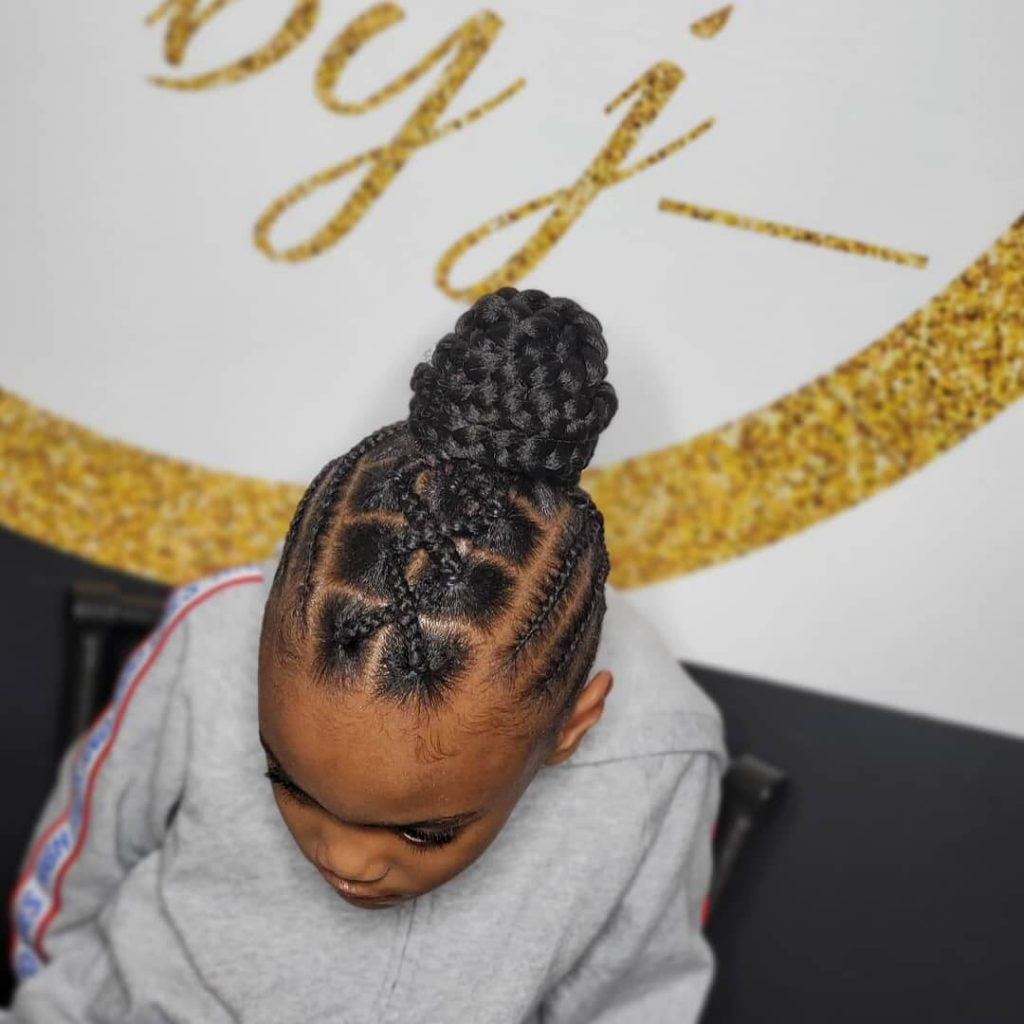 Criss Cross Box Braids and Corn Rows Top Knot Hairstyle