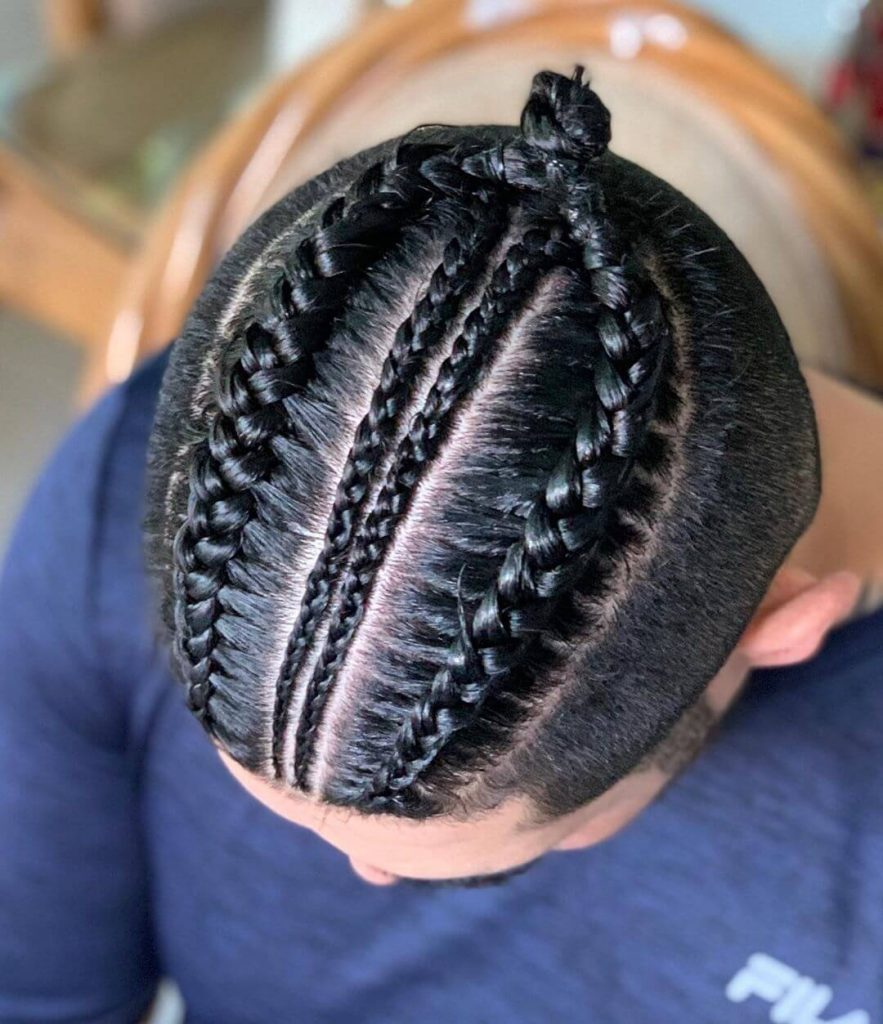 Feed-In Braids and Cornrows Top Knot Tapered Undercut