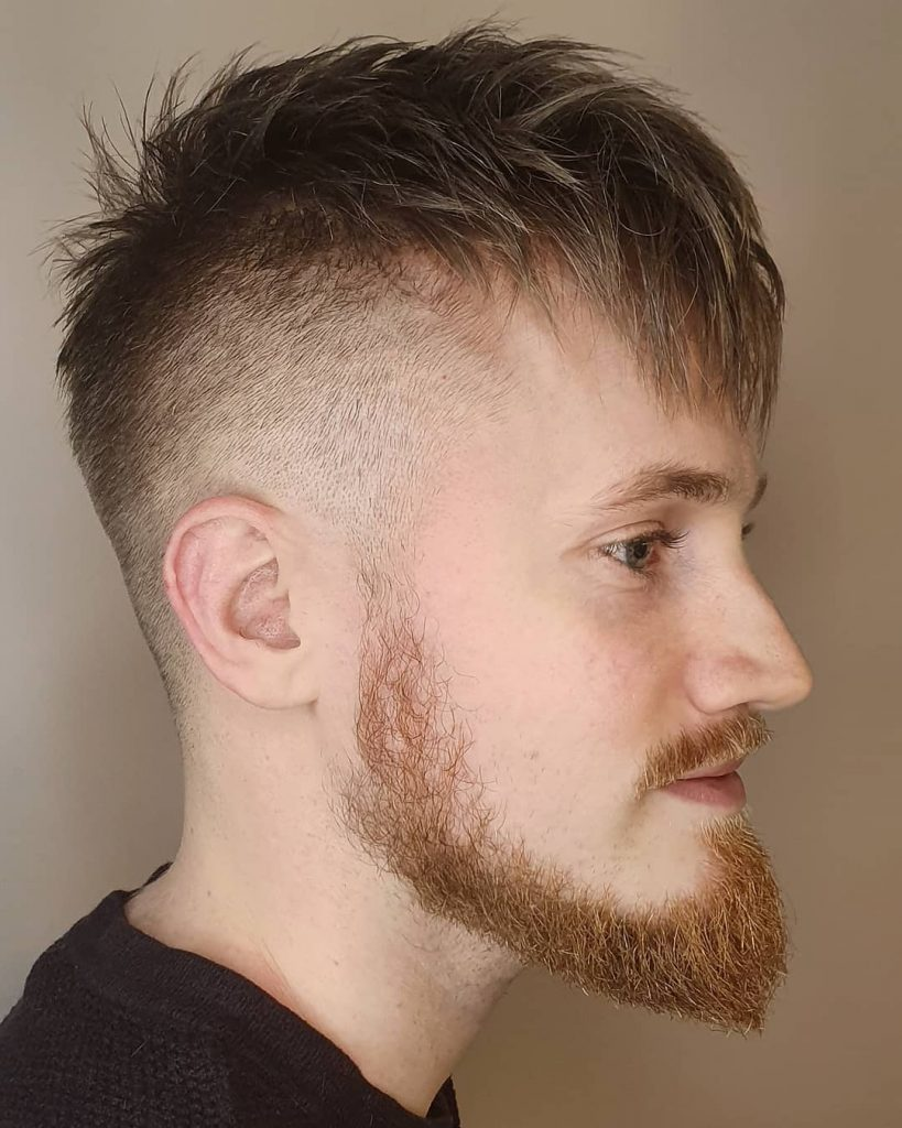 Full Choppy Bangs Taper Fade Hairstyle