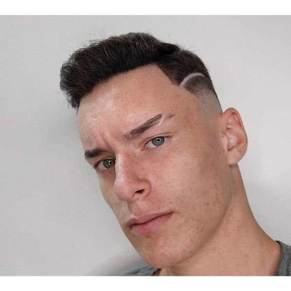 High Skin Fade Cut with Surgical Line and Side Part Hairstyle