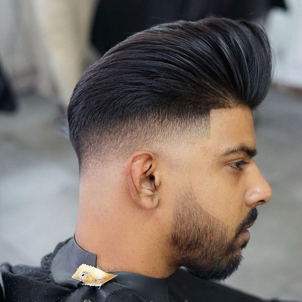 High Taper Fade Pompadour Hairstyle