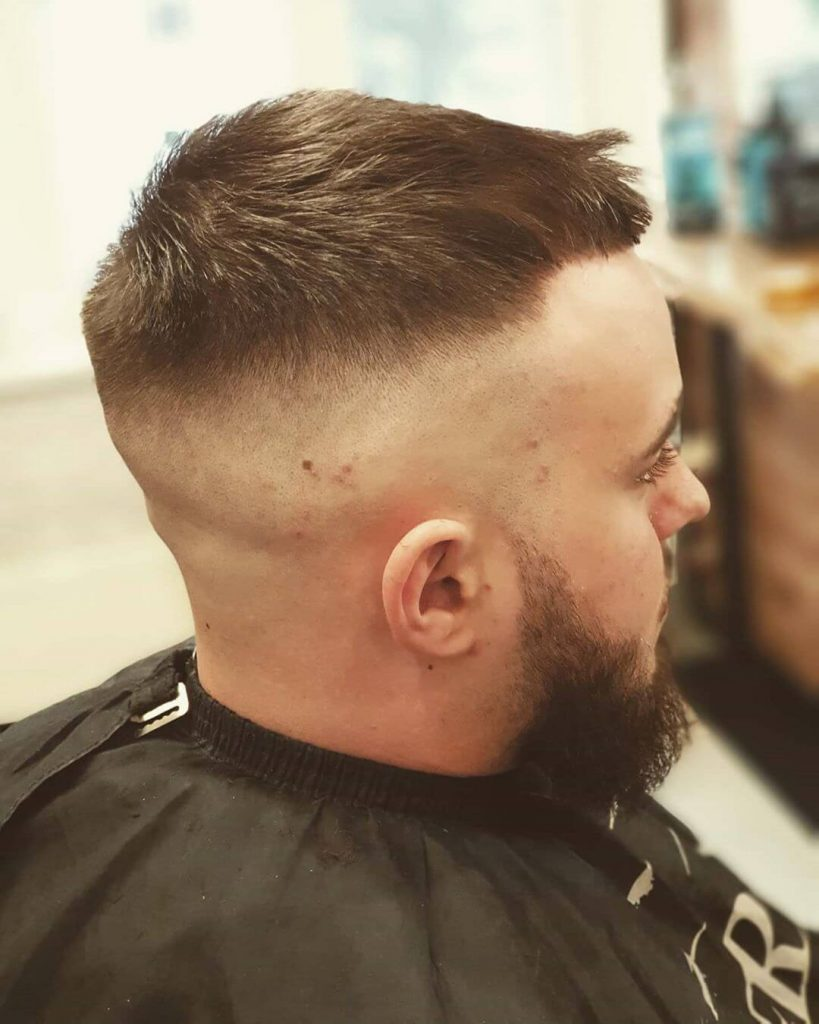 High Taper Skin Fade Caesar Cut Hairstyle