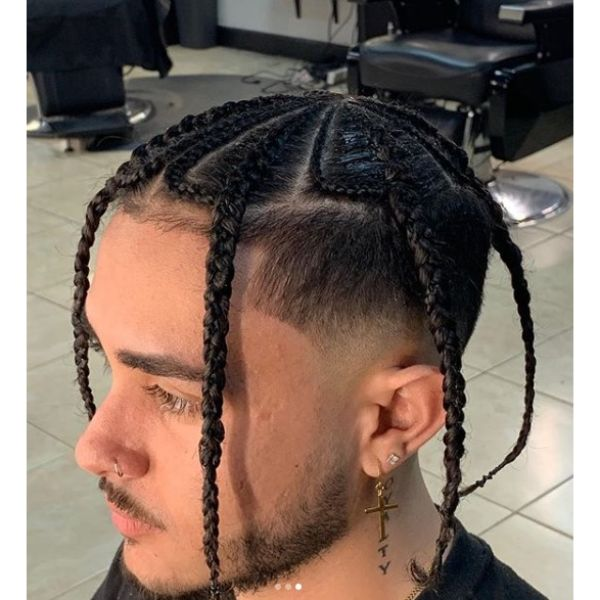 High and Tight Haircut with Windmill Shaped Box Braids Men