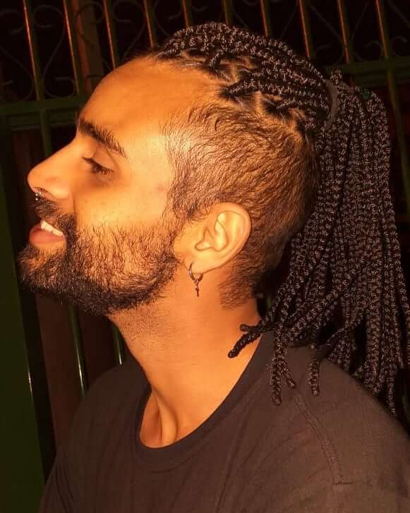 High and Tight Undercut with Very Long Box Braids Men