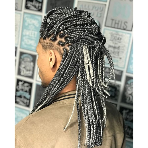 Highlighted Box Braids in Long French Braid for Men