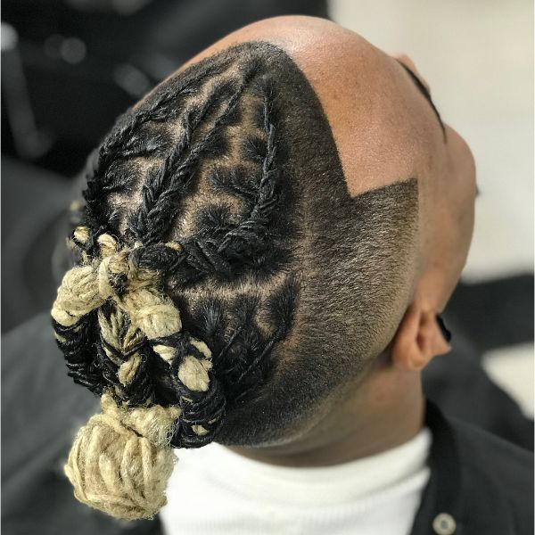 Infinite Sign Shaped Twisted Box Braids Men with Top Knot