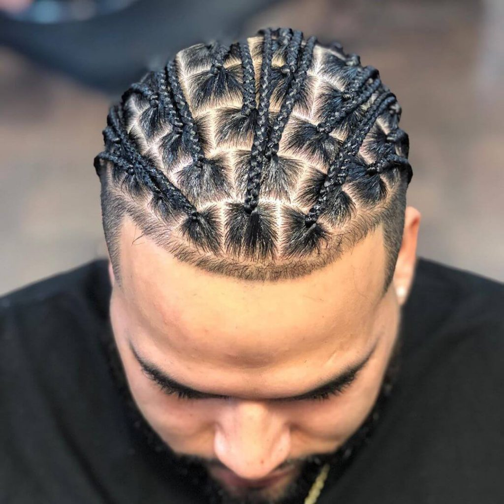 Micro Box Braids Men with Shape Up Undercut