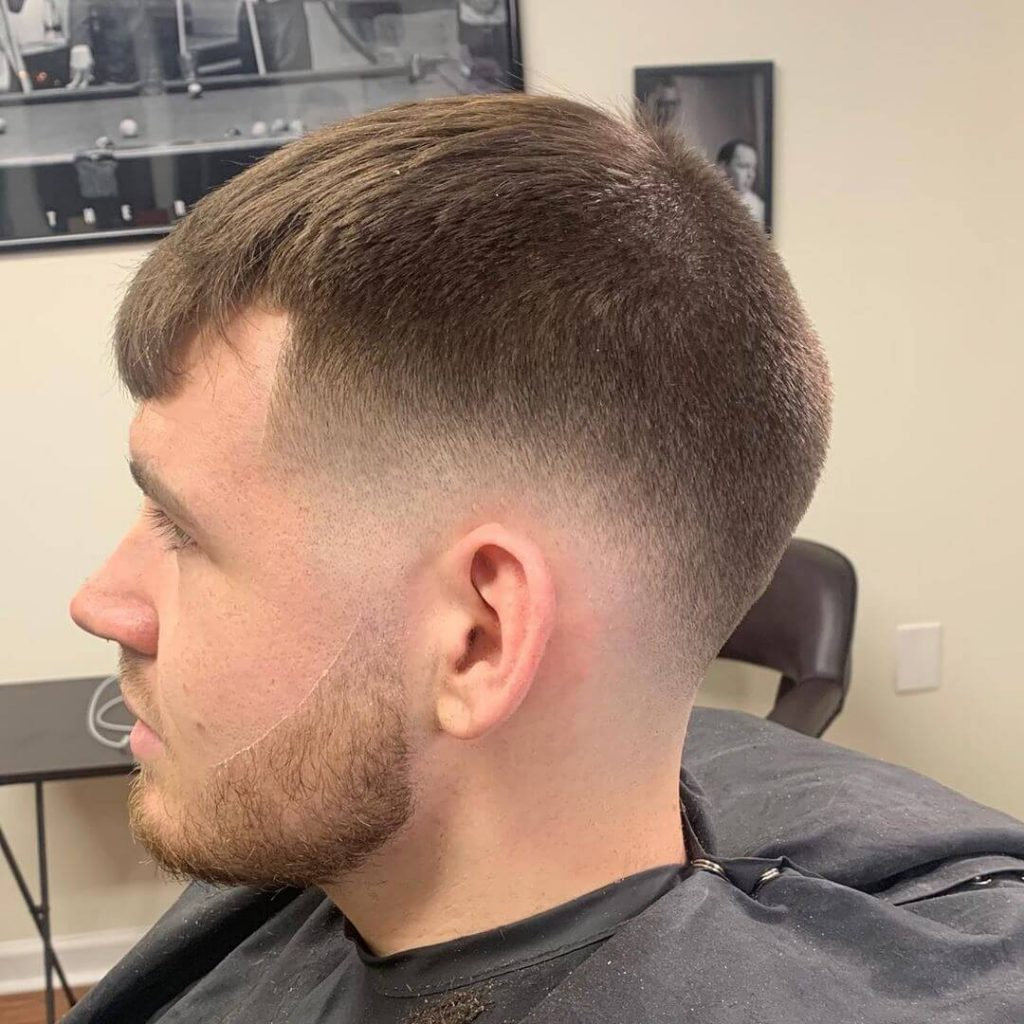 Mid Taper Fade Fringe Cut for Thick Hair