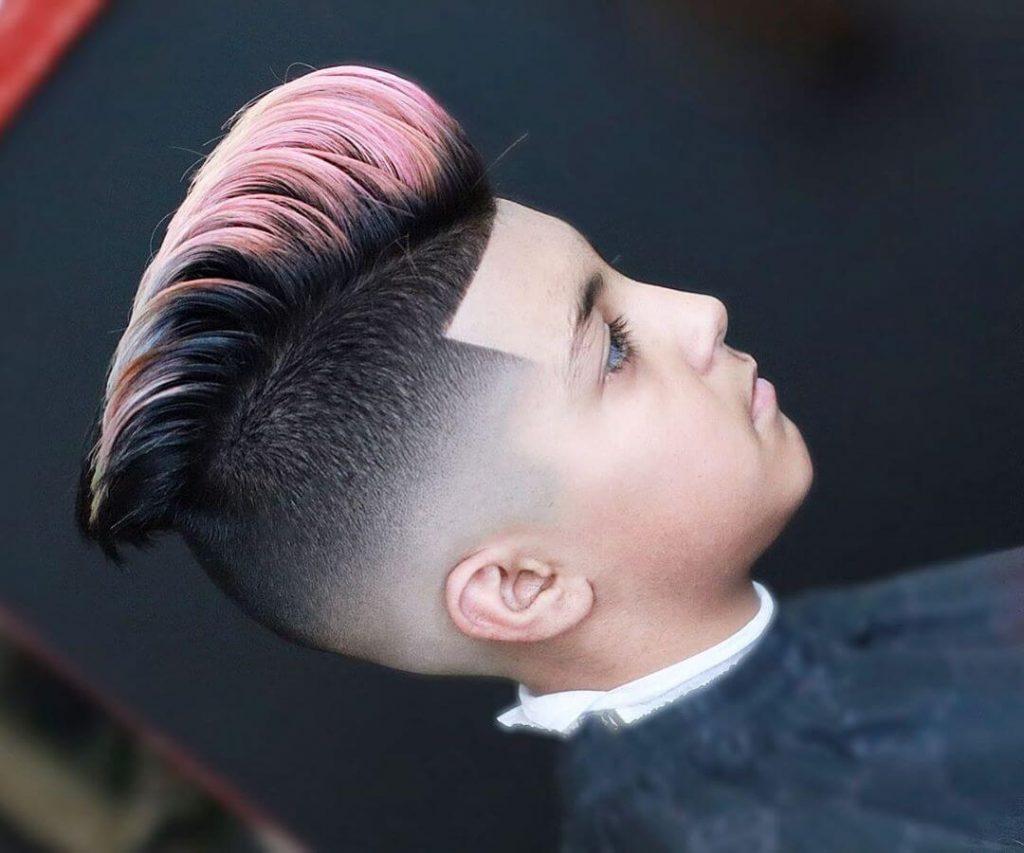 Pastel Ombre Pompadour Shape Up Mid Fade Haircut