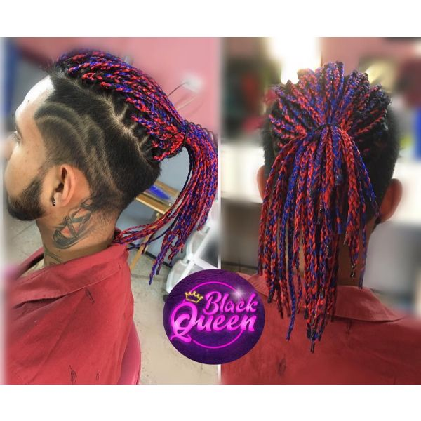Red Purple Extensions Box Braids in Top Knot