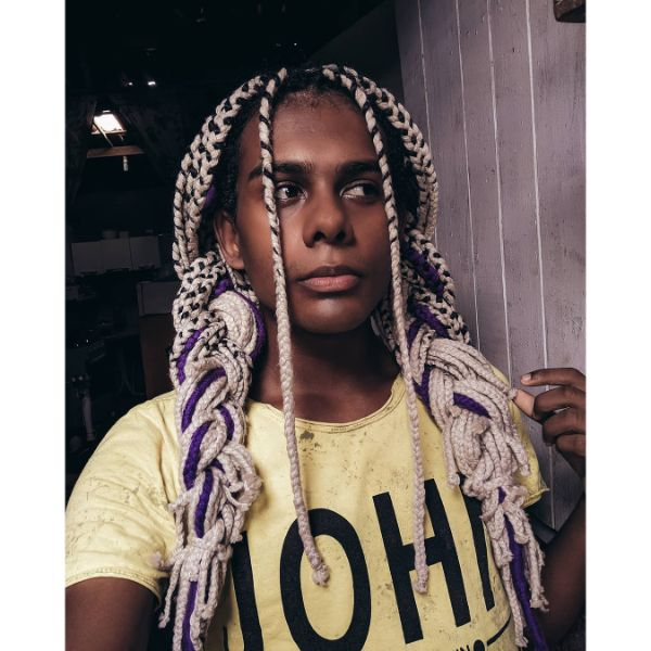 Box Braids Men for Colored Extensions