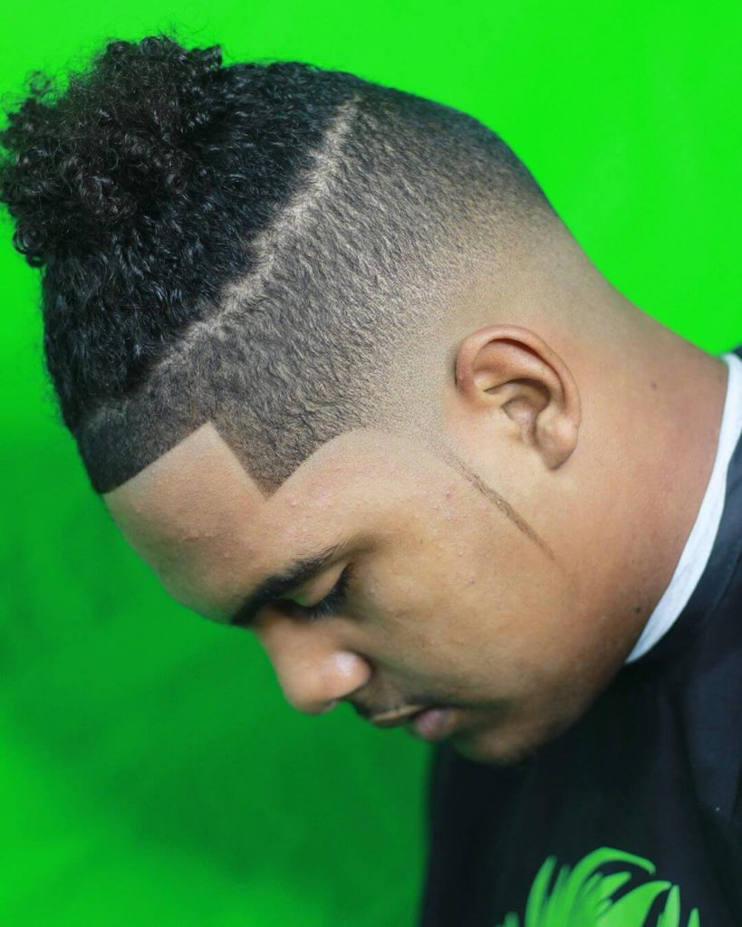 Shape Up Mid Taper Fade Top Knot Curly Hairstyle