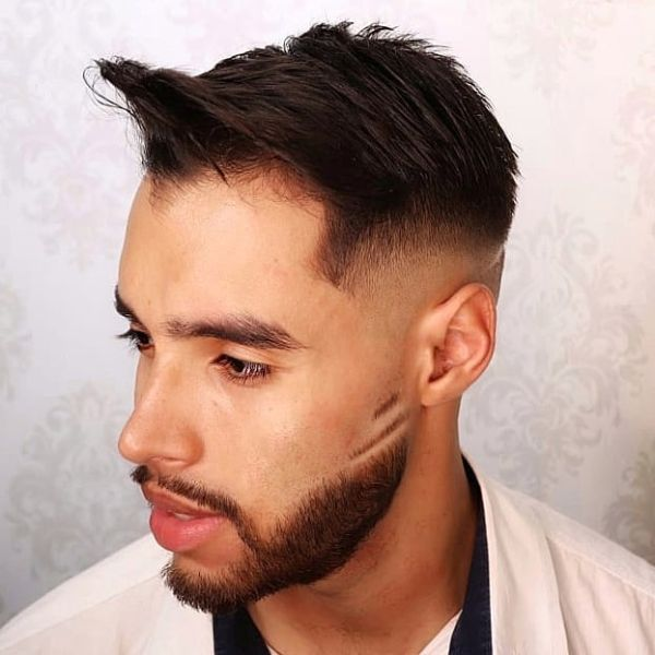 Sharp Fade with Front Hair Piece and Matching Beard