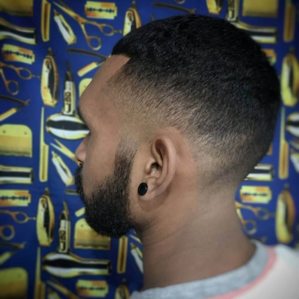 Short Beard and Medium Taper Fade Caesar Cut