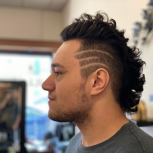 Short Mullet Haircut with Side Razor Lines