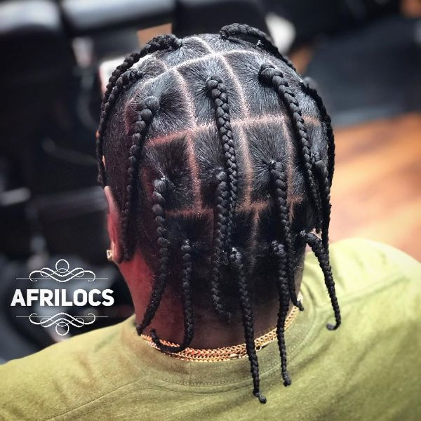 Square Knotted Box Braids Men