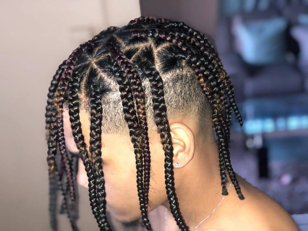 Subtle Highlights Triangle Box Braids with Tapered Undercut
