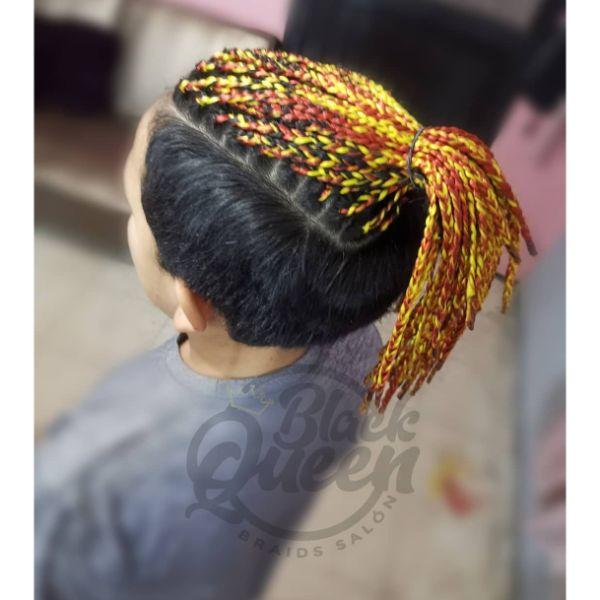 Taper Haircut with  Bright Multicolored Box Braids For Men