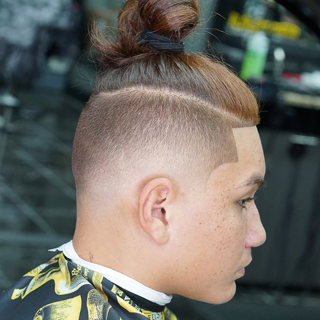 Taper Low Fade Top Knot Shape Up Haircut