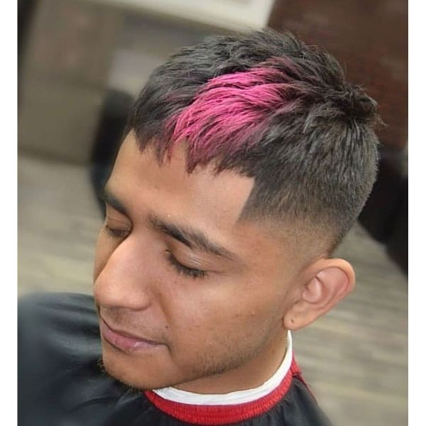 Temple Fade Short Hairstyle with Textured Top and Splash of Magenta Colored Hair