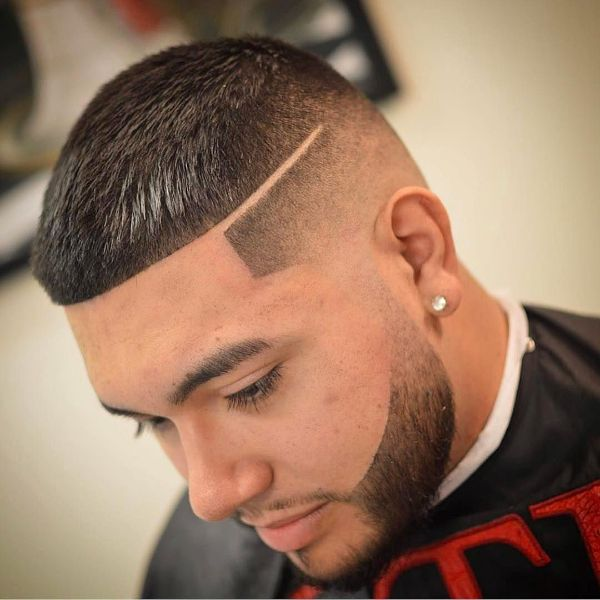 Temple Fade with Straight Cut Top and Separating Line Hairstyle