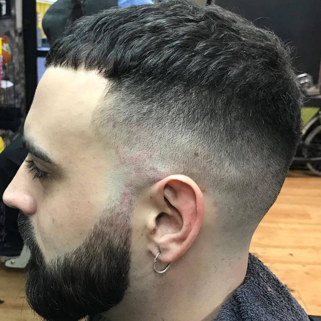 Textured Caesar Cut High Taper Fade Hairstyle