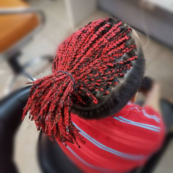 Top Knot with Red Colored Box Braids for Men