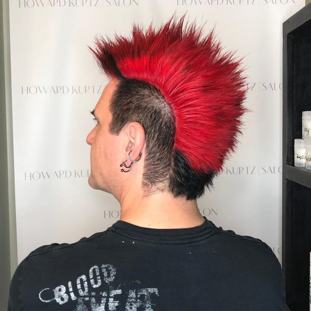Two Tone Punk Fanned Mohawk with Tapered Sides