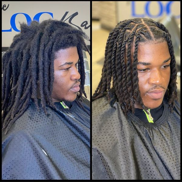 Two-Twisted Box Braids for Men with Medium Hair with Middle Part