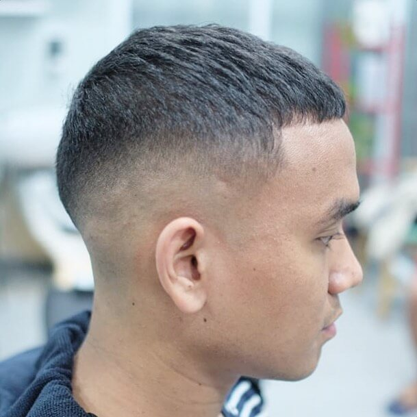 V-shaped Taper Temp Fade Caesar Cut