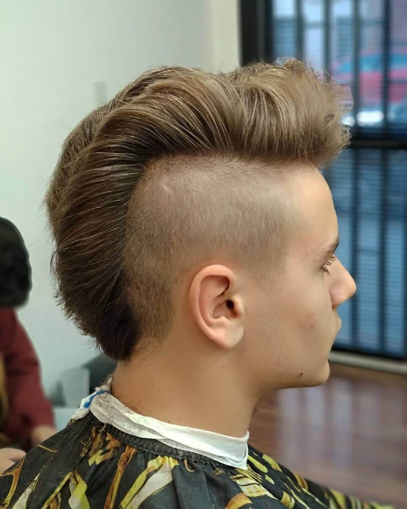 Vintage Pompadour Ducktail Mohawk with Short Tapered Sides