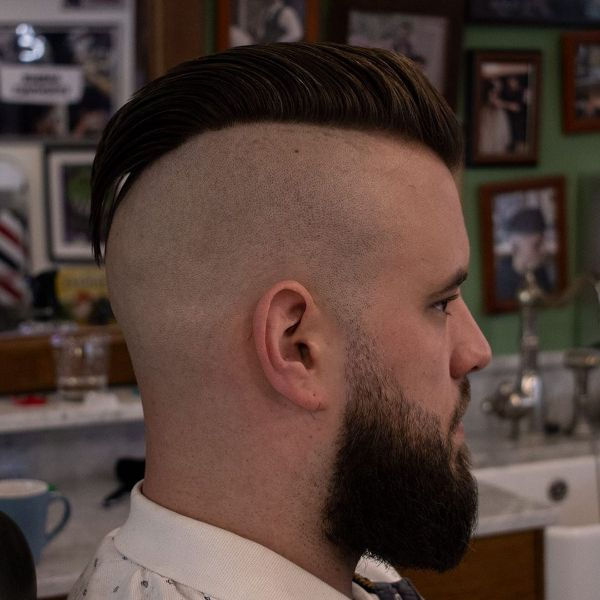 Whitewalls Haircut with Mohawk and Beard