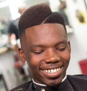 Centered Diagonal Juice Box Fade Haircut