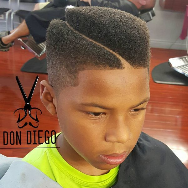 High Top Juice Box Fade Cut with wavy line