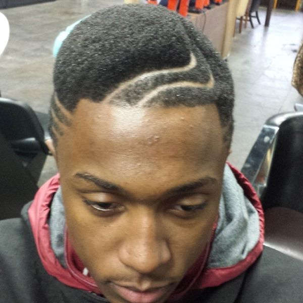 Juice Box Fade Cut with Double Curved Lines