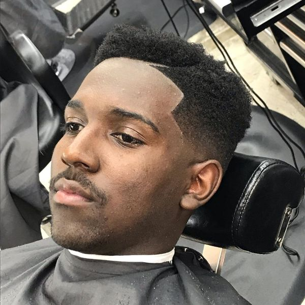 Juice Box Haircut with Thunder Shaped Line