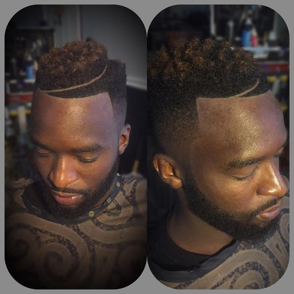 Textured Juice Box Haircut with highlights and curved line