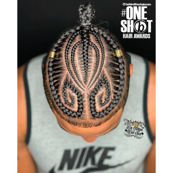 Artistic Pattern Cornrows with Top Knot