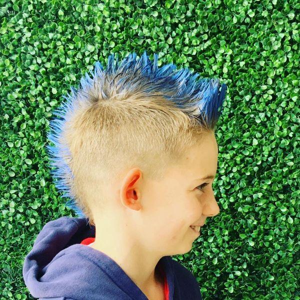 Blue Mohawk Fade Haircut for Boys