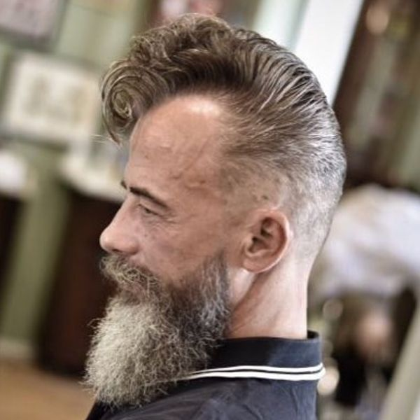 Boogie Hairstyle for Older Men with Skin Fade